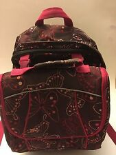 GAP KIDS GIRLS BUTTERFLY BACKPACK & LUNCHBOX BROWN SCHOOLBAG & LUNCH BOX BAG