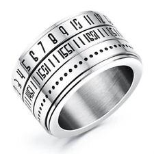 Fashion Men Time Rotating Ring Titanium Steel Arabic Numerals Calendar Rin Y4w5