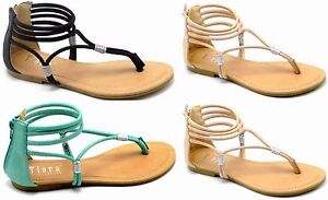 Women's New Fashion Strapy Glittery Ankle Wrap Flat Gladiator Sandal Shoes 6-10
