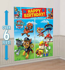 PAW PATROL Happy Birthday party Scene Setter PHOTO BACKDROP dogs Rubble Chase +