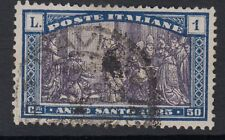 ITALIA:1924 anni giubilari 1L + oppure viola e blu SG 176 Usato