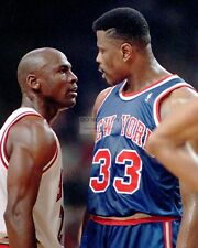 MICHAEL JORDAN & PATRICK EWING 1993 EAST CONF FINALS GAME 5 - 8X10 PHOTO (DD353)