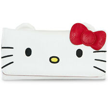"""NEW Loungefly X HELLO KITTY Red/White """"BIG FACE"""" Flap Wallet -SALE"""