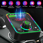 12V/24V Bluetooth Car Wireless FM Transmitter Adapter PD Charger AUX Hands-Free