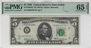 1969 $5 Federal Reserve Star Note Dallas Fr.1969-K* PMG GEM UNC 65 EPQ