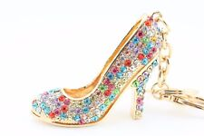 Colorful Heel Shoes Stiletto Fashion Keychain Crystal Charm Gift Collectible F5B