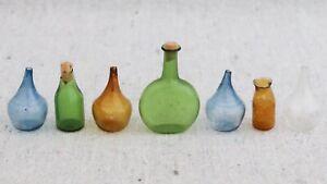 7 Vintage Dollhouse Miniature Antique Hand Blown Multi Color Glass Bottles 1:12