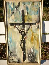 ANCIENNE HUILE SUR PANNEAU CHRIST RELIGION SIGNEE DAU.N CRUCIFIX