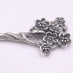 Real S925 Sterling Silver Hairpin Woman's Retro Plum Blossom Crafts Hairpin