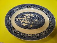 "Homer Laughlin 11 7/8"" Blue Willow Oval Serving Platter - Made in USA"