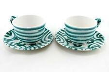 2 x green and white Gmundner cups and saucers. Austrian design