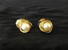 Preowned Giani Bernini Resin Pearl Love Knot Stud Earrings 24K Gold
