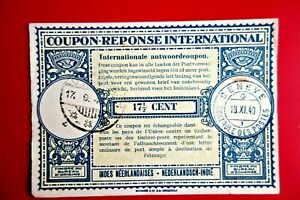NETHERLAND INDIES :INTERNATIONAL REPLY COUPON 171/2c DJOMBANG'40 & GENEVE .
