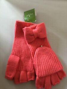 NWT KATE SPADE NEW YORK Solid Bow Pop Top Mittens Gloves Costume Pink Cozy
