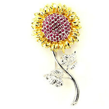 HUGE PRECIOUS! NATURAL RICH RED RUBY 2-TONE STERLING 925 SILVER SUNFLOWER BROOCH