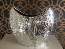 Silver Shiny Chrome Effect Large Textured Art Vase Bowl New In Box H23.5cm