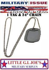 "( BLANK ) Black Military Army Blank Military Dog Tag , 24"" Chain & Silencer"