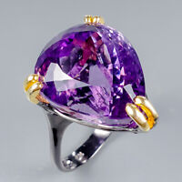 Handmade23ct+ Natural Amethyst 925 Sterling Silver Ring Size 8.5/R124895