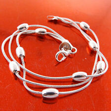 Solid 3 Strand Bead Design Fs3A232 Bracelet Bangle Real 925 Sterling Silver S/F