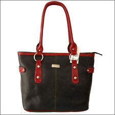 ZINT Women's Genuine Leather Large Tote Shoulder Shopping Bag Purse Black Red