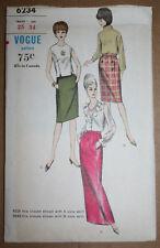 1960s VINTAGE SEWING PATTERN VOGUE 6234 SKIRT WAIST 25 HIP 34