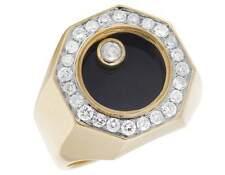 Men's Black Onyx Floating Genuine Diamond 10K Yellow Gold Pinky Ring 1.0CT 18MM