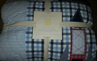 New Pottery Barn Kids STARS and ROCKETS Twin QUILT Euro SHAM Navy blue