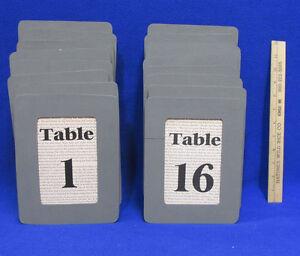 Table Numbers 1-16 Wood Framed Gray Wooden Newspaper Print Wedding Restaurant