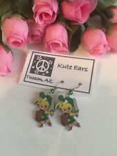Silvertone Legend of Zelda LINK with shield and sword Dangle Earrings