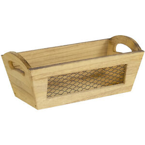 Rectangular Wood Storage Basket Crate with Metal Wire Mesh and Handles, Brown