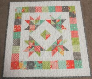 "Hand Made Quilted Table Runner/Topper~ 21 "" sq~100% Cotton~Multi on white"
