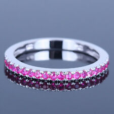 Fine Eternity Band Engagement Wedding Anniversary Ruby Ring Solid 10K White Gold