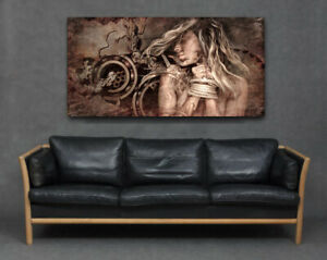 Blonde Woman Ropes Hands Tied Cogs Chains Brown Modern Big Canvas Print Wall Art
