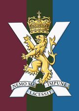 ROYAL REGIMENT OF SCOTLAND CAP BADGE PRINTED ON A METAL SIGN 5 x 7 INCHES.