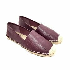 Tory Burch Maroon Logo Leather Espadrille Flats Size 8