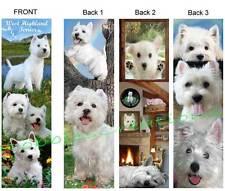 3 Lot-WEST HIGHLAND White TERRIER Westie BOOKMARK Dog Book Mark CARD ART Puppies
