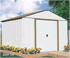 Garage Garden 10 x 10 Outdoor Storage Shed Organize Backyard Metal Tools Bikes