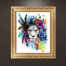 DIY 5D Rhinestone Diamond Embroidery Lion Painting Cross Stitch Art Home Decor