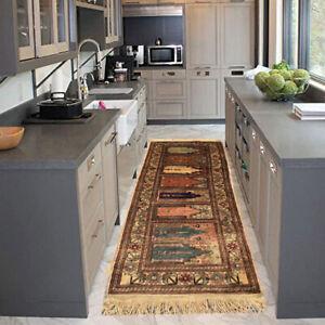 12853 Vintage Turkish Runner Rug Handmade Silk Rug Floral Rug Kitchen Kilim 5x2