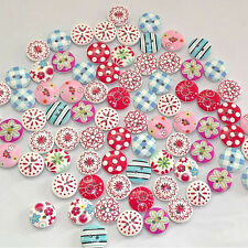 100Pcs 2 Holes Mixed Printing Round Pattern Wood Buttons Scrapbooking 15mm Good