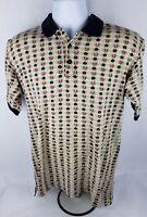 Northwest Territory Mens Polo Shirt Sz S Sm Tan Black Red Geometric Short Sleeve