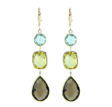 14K Yellow Gold Leverback Earrings With Lemon, Blue And Smoky Topaz Gemstones