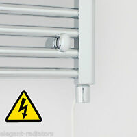 400 mm Wide 1200 mm High Curved Chrome Heated Towel Rail Radiator Electric & Gas