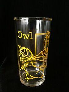 1965 WINNIE THE POOH & HONEY TREE OWL Glass Tumbler Walt Disney Productions