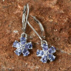 Pretty Tanzanite Platinum Over Sterling Silver Floral Lever Back Earrings O755