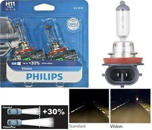 Philips VIsion 30% H11 55W Two Bulbs Head Light Low Beam Replace Upgrade Stock