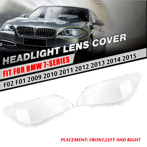 Pair Headlight Lens Cover Replacement Lenses For BMW 7 Series F01/F02 2009-2015