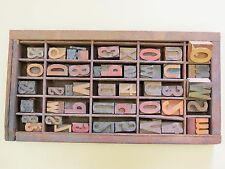 Vintage Letter Press Type Drawer With 45 Assorted Numbers, Symbols And Letters