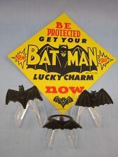 1966 VINTAGE **BATMAN BLACK LOGO LUCKY CHARM BAT RINGS**  3-Total & DISPLAY CARD