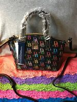 Dooney & Bourke Black Multi Logo Coated Canvas Shoulder Bag Hobo Zip Satche